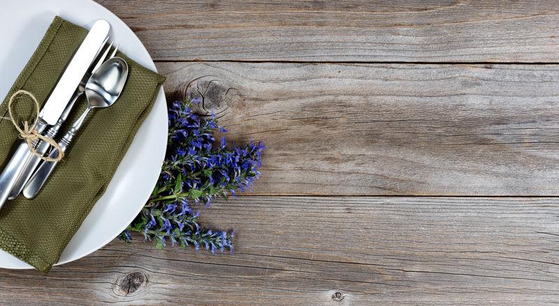 Vintage table setting with fresh flowers on rustic wood Dinner Dinner Setting Dinnerware  Flower Fork Knife Romance Rustic Silverware  Spoon Table Vintage