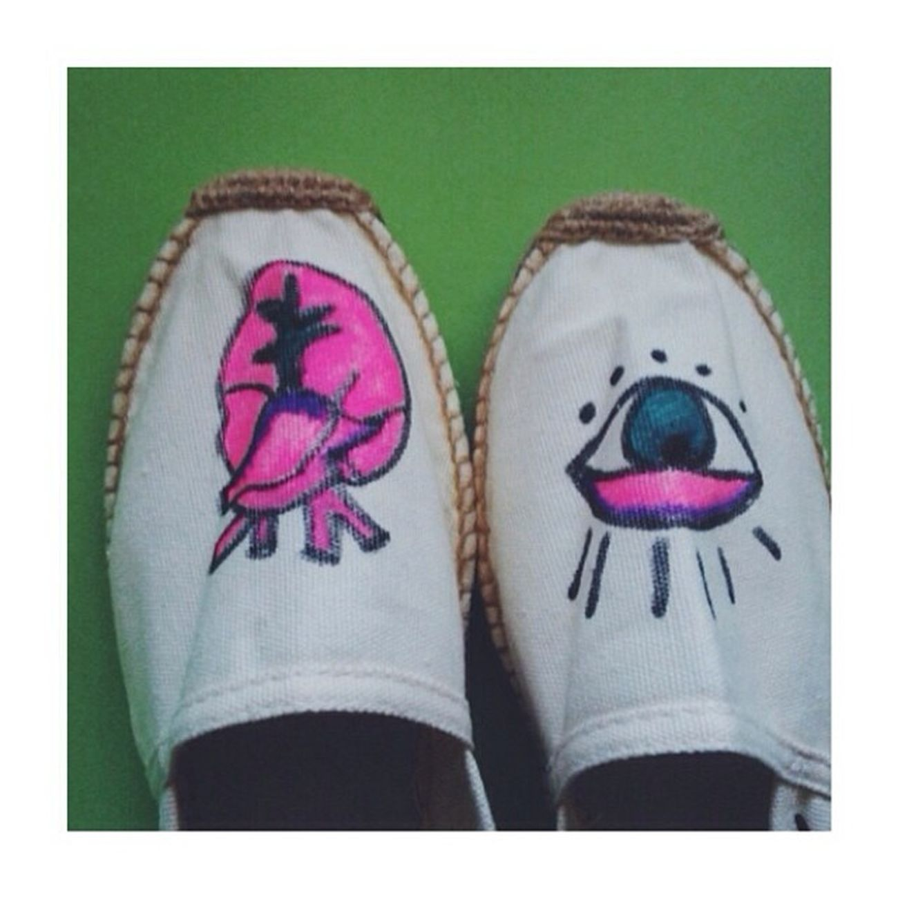 Espadrillas pimpate per la mia Mary Pimp Espadrillas Eye Heart draw art summer clorophillaart