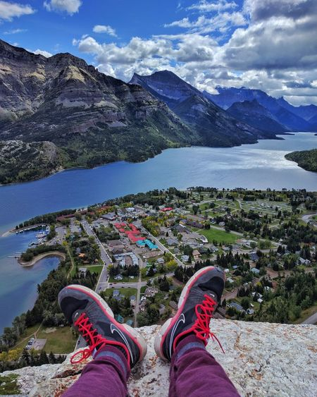 My first ever hike and I am gifted with thjs wonderfull view!😍 Low Section Human Leg Shoe Mountain Personal Perspective Cloud - Sky Human Body Part One Person Water Day Lake Nature Outdoors Scenics Sky People Adult One Woman Only Adults Only HikeLife Landscape Summer Canada Mountain River First Eyeem Photo
