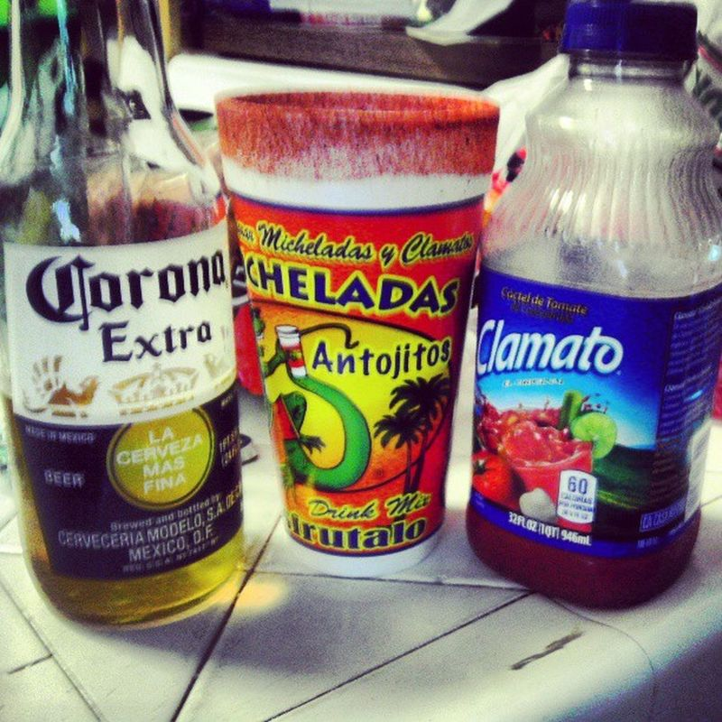 On this hot day, its always good to have a Coronaextra with a Michelada and Clamato BombDotCom lol @peaceloveramos