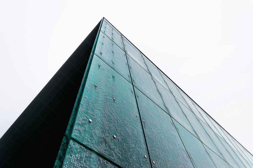 Architecture Art Building Exterior Clean Close-up Cyanotype Day Façade Low Angle View Modern Museum Pyramid Sky The Architect - 2017 EyeEm Awards