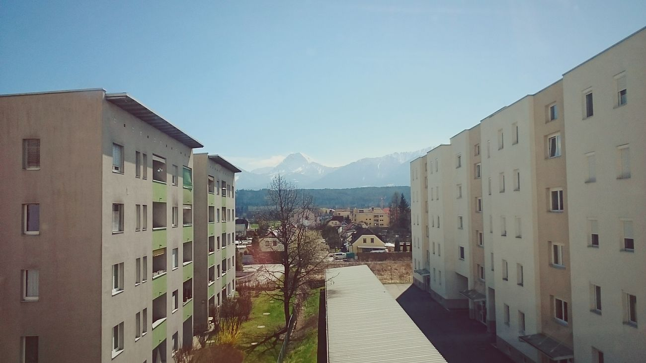 Austria Urban Landscape Blue Sky Mountains Sunny Day Apartment Buildings Landscape Sony Xperia From The Window