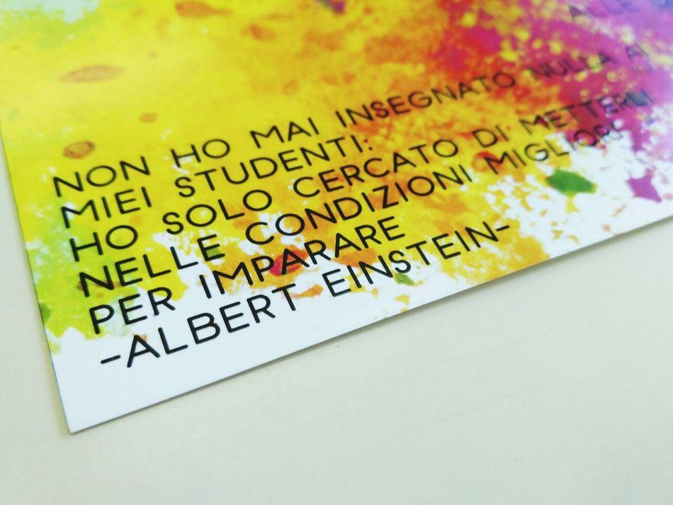 Albert Einstein Scritta Frase Colori Multicolore