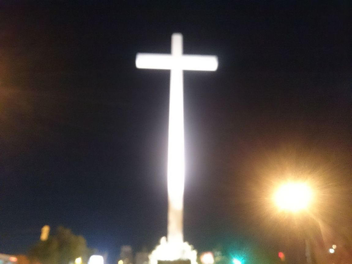 Religion Cross Spirituality Easter No People Outdoors Day Montevideo, Uruguay Nightlife Architecture Illuminated City Night Sky