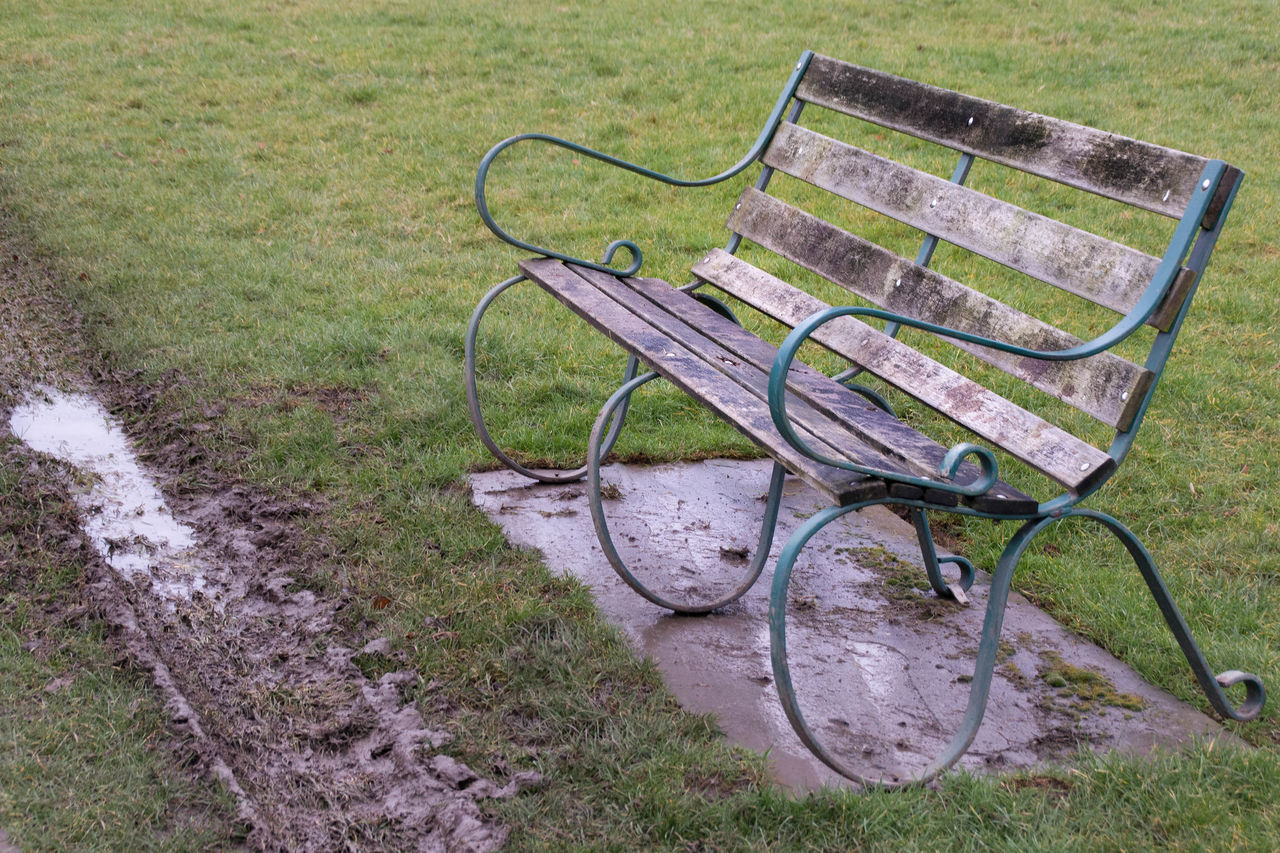 Beaten Bench Benches Chair Chair Chairs Chilling Out Empty Grass Muddy No People Park Parks Path Paths Place To Be  Place To Sit Rugged Seat Seating Swirling Swirls Vacant Wood Wooden