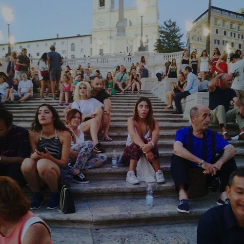 Large Group Of People Steps Staircase Steps And Staircases Crowd Women Men Celebration Real People Architecture People Sitting Built Structure Building Exterior Lifestyles Togetherness Adult Day City Outdoors Italy Fashion Vacations History Tumblr