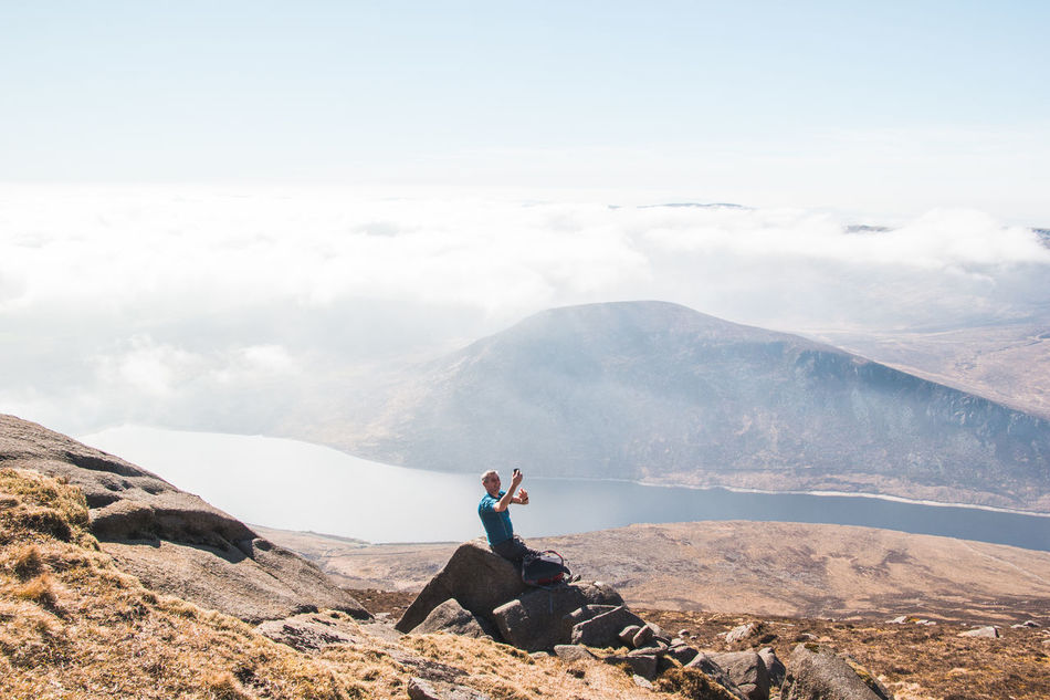 Abovetheclouds  Adrenaline Junkie Adventure Bright Cliff Cloud Edge Explore High High Angle View Hike Hiking Ireland Lake Man Mountains Nature Outdoors Scary Slefie Sunny Travel View