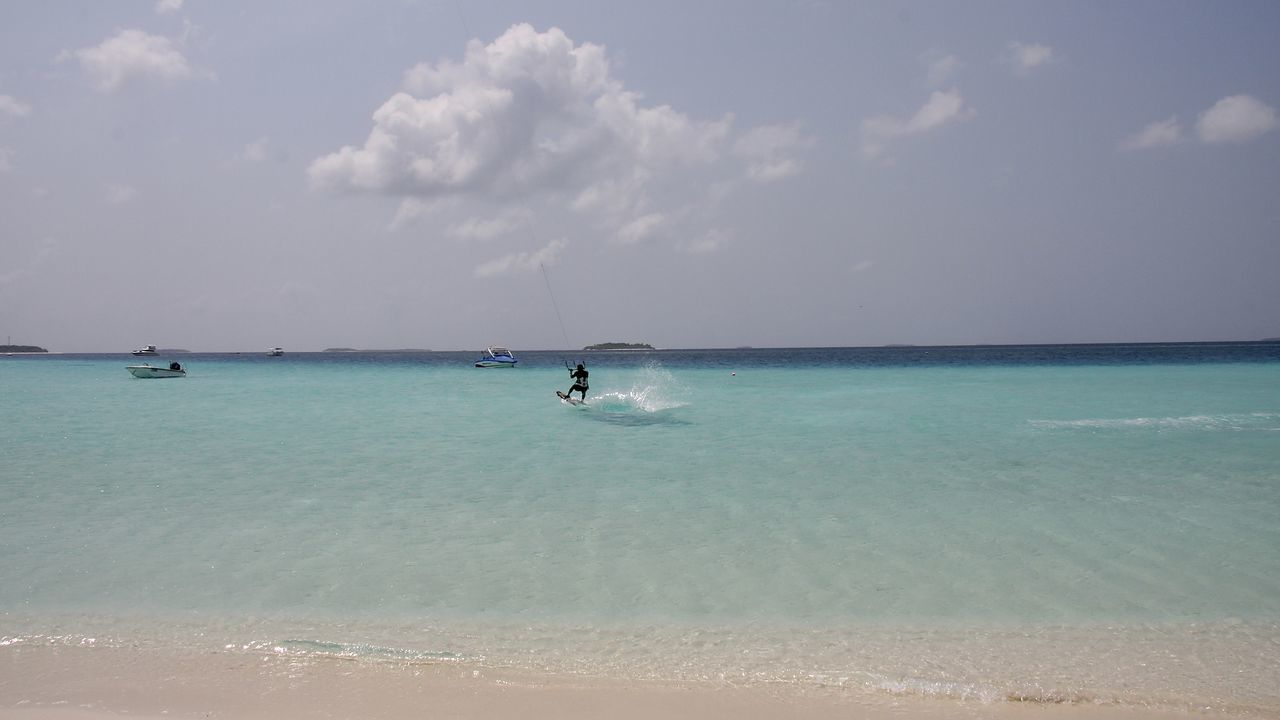 Amazing Beach Beauty In Nature Clouds Extreme Sports Holidays Horizon Over Water Kitesurfing Maldives Miles Away Nature Ocean Outdoors Sand Scenics Sea Seascape Shades Of Blue Sky Sport Tranquil Scene Tranquility Travel Water