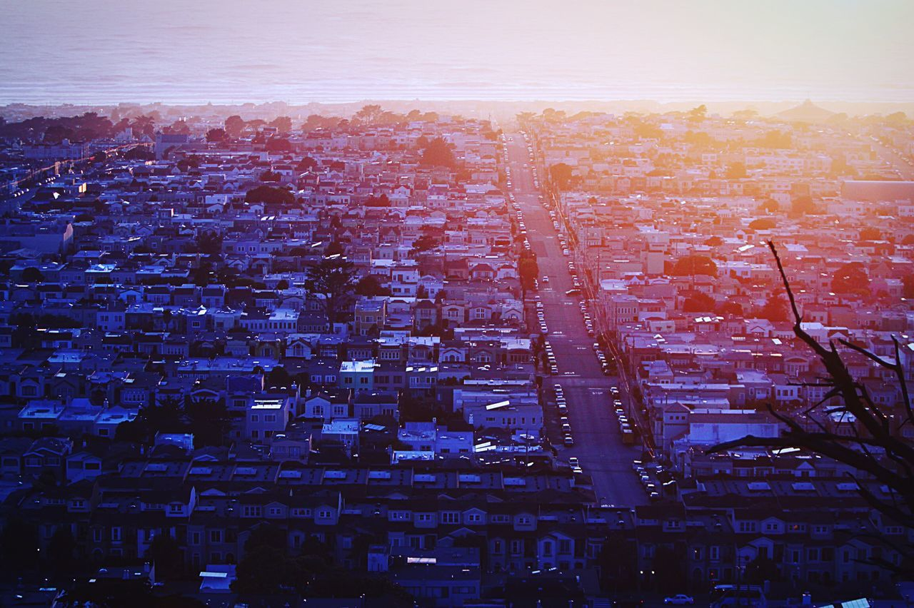 San Francisco Cityscape City Architecture Aerial View Built Structure Building Exterior Crowded Sky Outdoors Nature Day Sunset Bright Colors Warm Colors Travel Park Freshness Suburban The Great Outdoors - 2017 EyeEm Awards