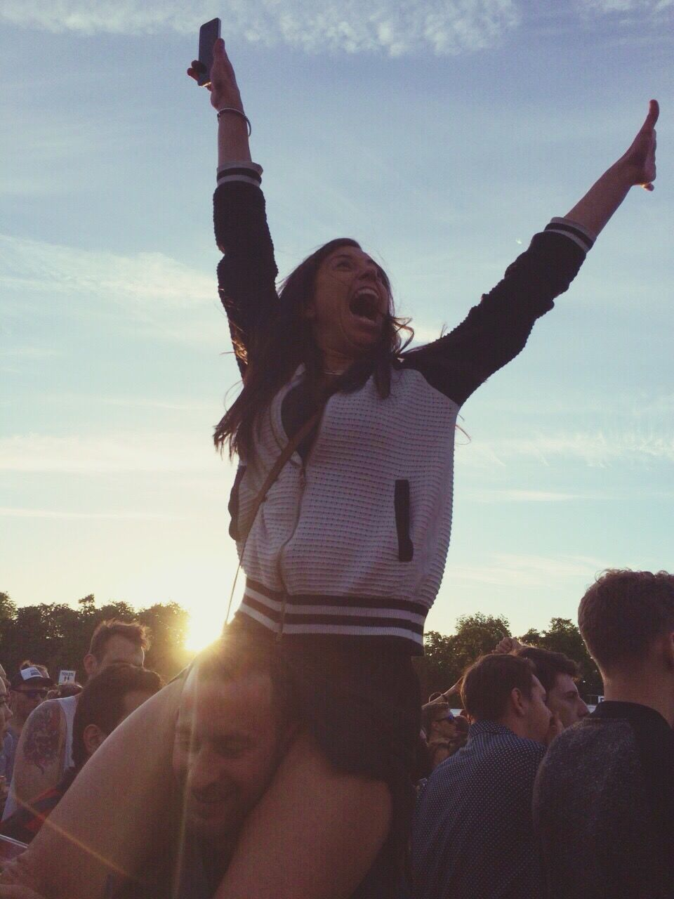 sky, real people, fun, leisure activity, enjoyment, happiness, smiling, outdoors, lifestyles, cloud - sky, day, excitement, sunset, women, cheerful, young women, young adult