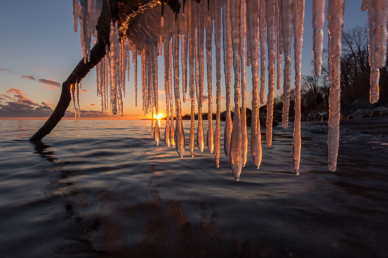 Beach Beauty In Nature Canada Hanging Ice Icicles Hanging Landscape Nature No People Outdoors Sky Sunset Water Winter