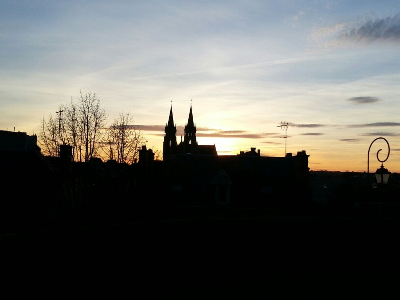 Clouds Sunset Praying City France Church Trees Nice Black