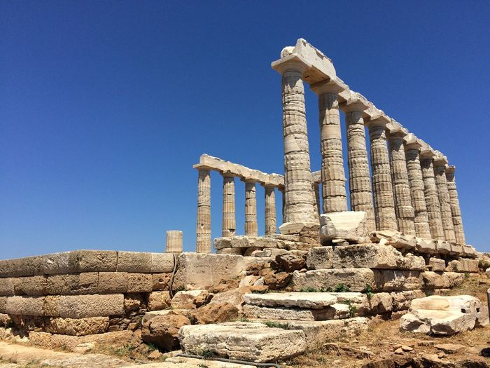 Sounio, Greece Ancient Ancient Civilization Ancient History Archaeology Architecture Blue Built Structure Clear Sky Cultures Day Greece History Monument Old Ruin Outdoors Ruined Sky Sounio The Past Travel Destinations