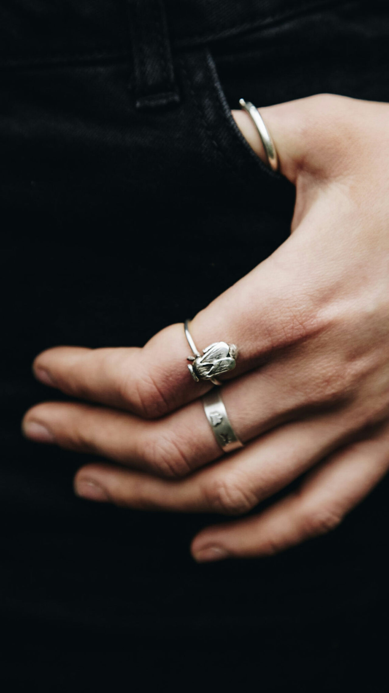 Human Hand Human Body Part Ring Close-up One Person Black Background One Young Woman Only Customdesign Jewellery Bee Bee Ring