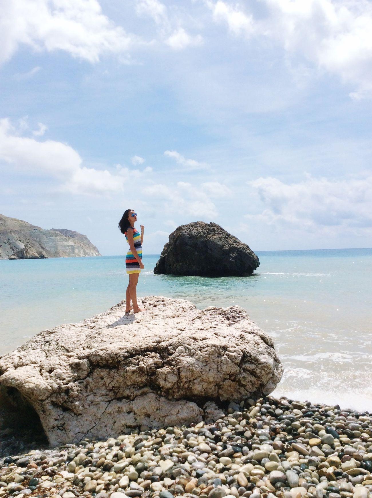 Enjoying The Sun Relaxing Enjoying Life Traveling Girl Cyprus Sea Beach Beautiful Nature