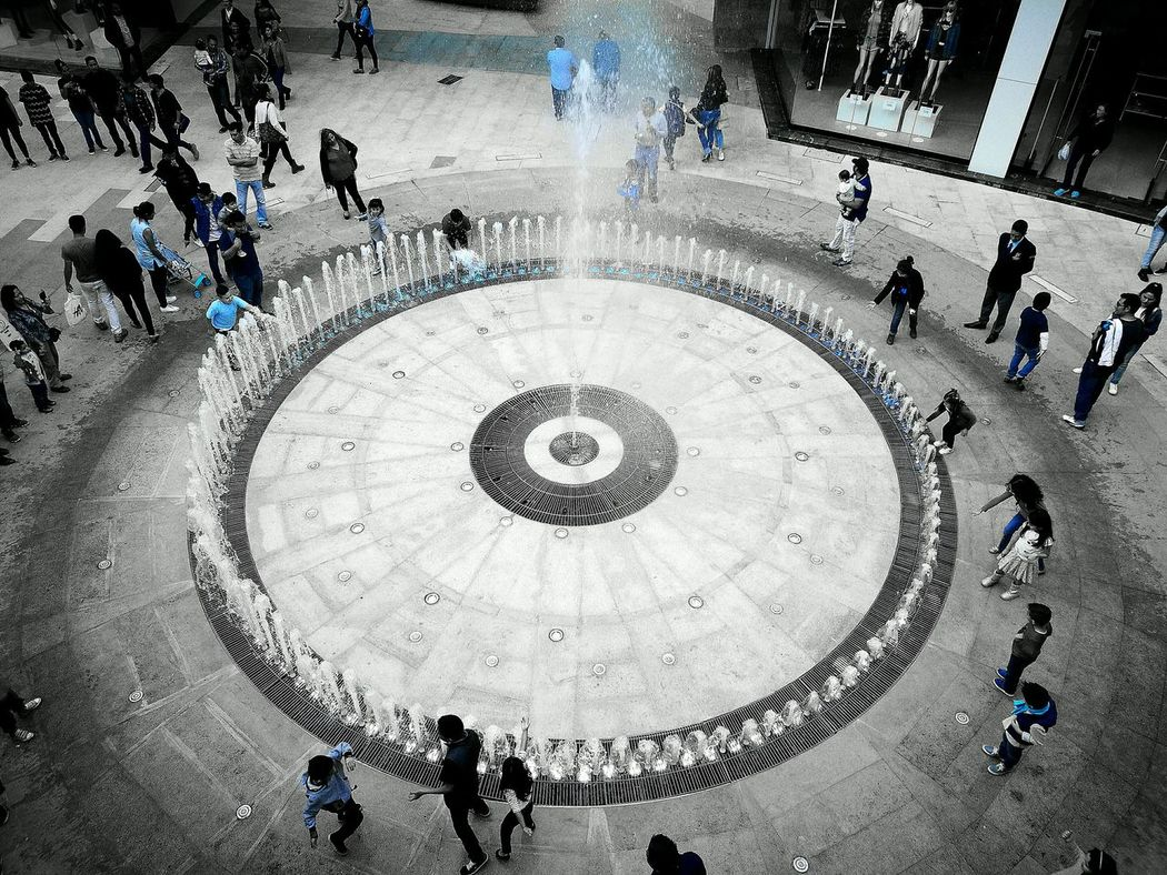 The blue in the sundaHigh Angle View Real People Day Outdoors People Water Fountain Fuente MundoE Estado De México Mexico Kids Large Group Of People Blue