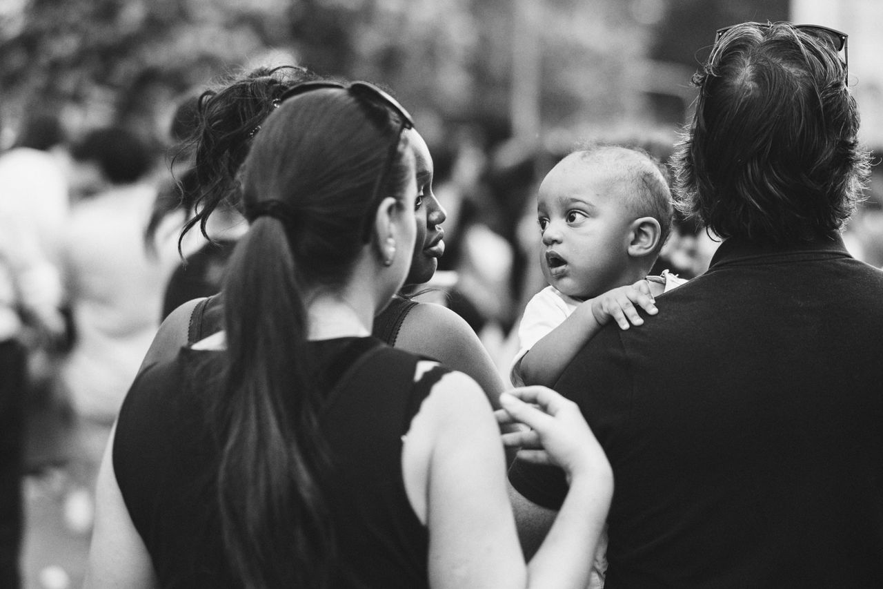 EyeEm Selects Real People Togetherness Baby Love Childhood Family Focus On Foreground Lifestyles Outdoors Candid EyeEm Masterclass EyeEm Best Shots Streetphotography Milanopride Monochrome Black & White Black And White Blackandwhite