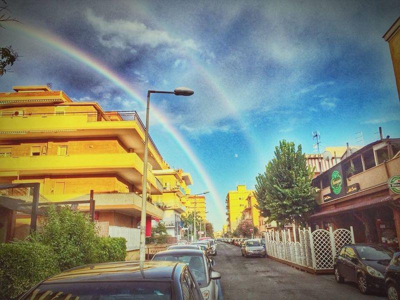Capture The Moment the moon between the rainbows Moon Rainbows Ladispoli Italiansky Rainwithsun