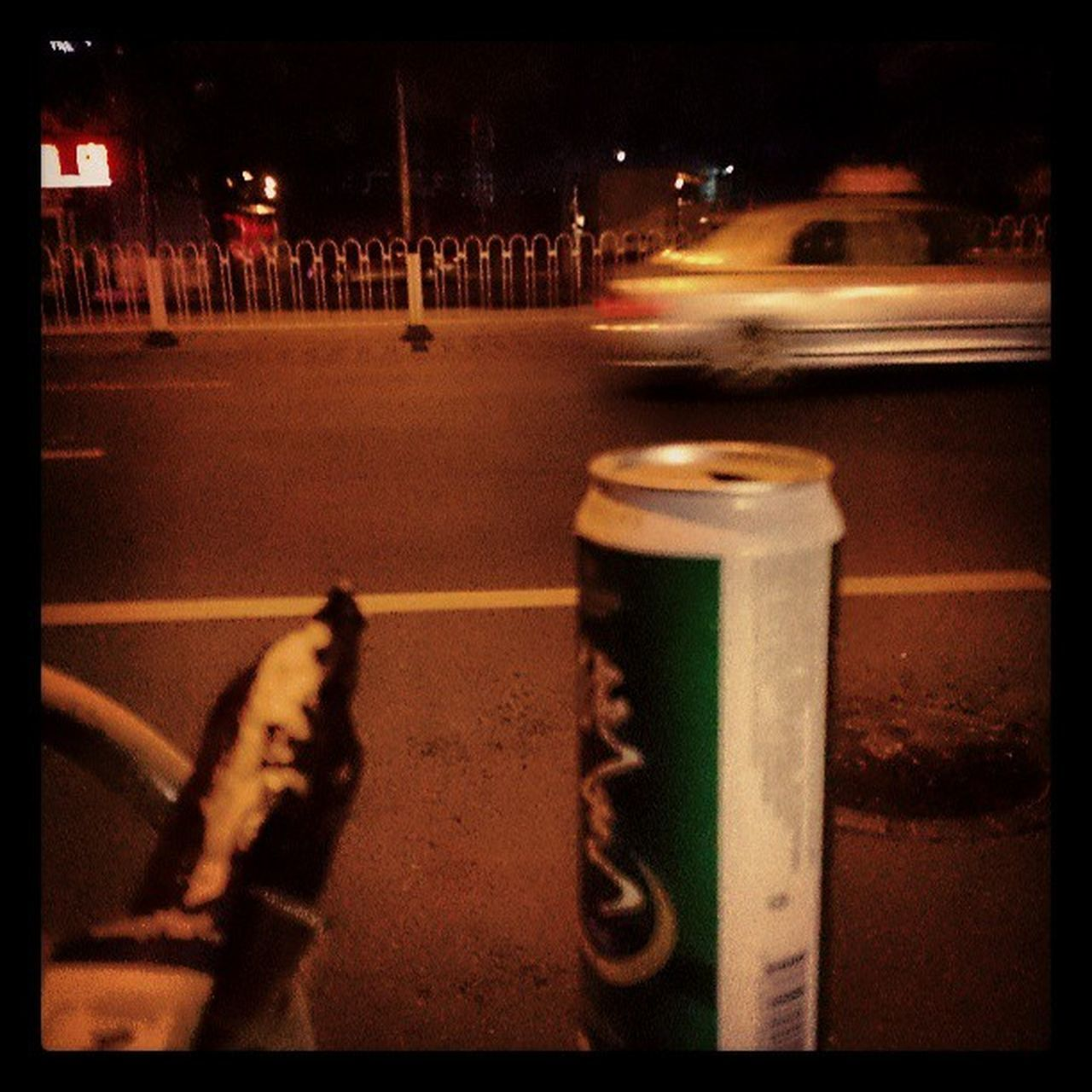street, road, outdoors, night, transportation, car, no people, city, close-up, animal themes