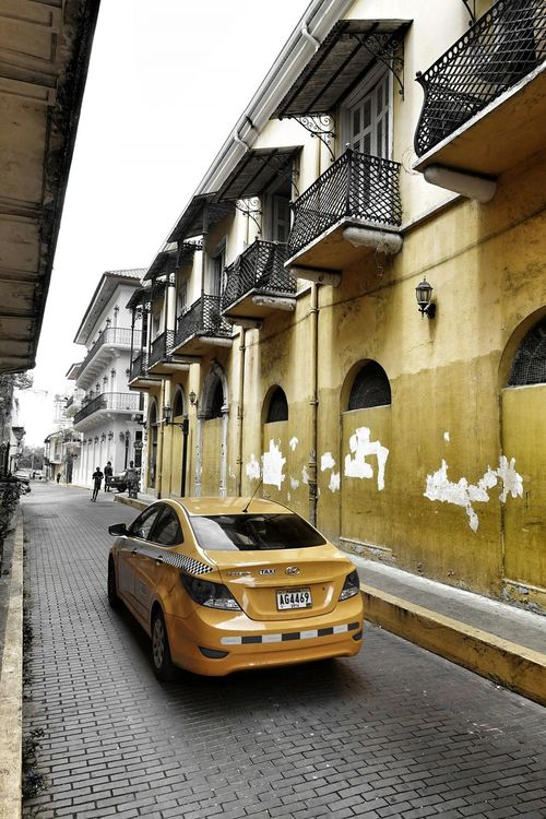 Ancient And Modern. Streetphotography Streetcolour Yellowcab Panama City Coincidence Urban Photography Taxicab Urban Landscape
