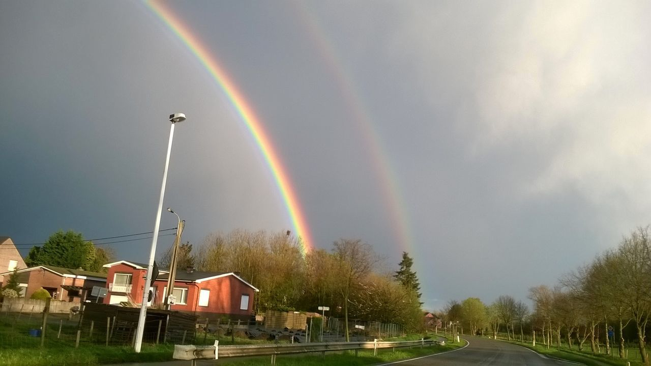 rainbow, double rainbow, multi colored, built structure, architecture, building exterior, day, outdoors, no people, nature, beauty in nature, tree, scenics, sky