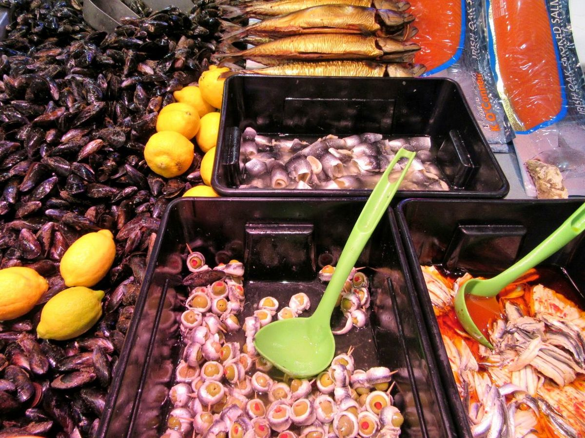 Shellfish and fish products Fish Stall Fish SHELLFISH  Mussels Rollmops Smoked Salmon  English Market Cork City Ireland