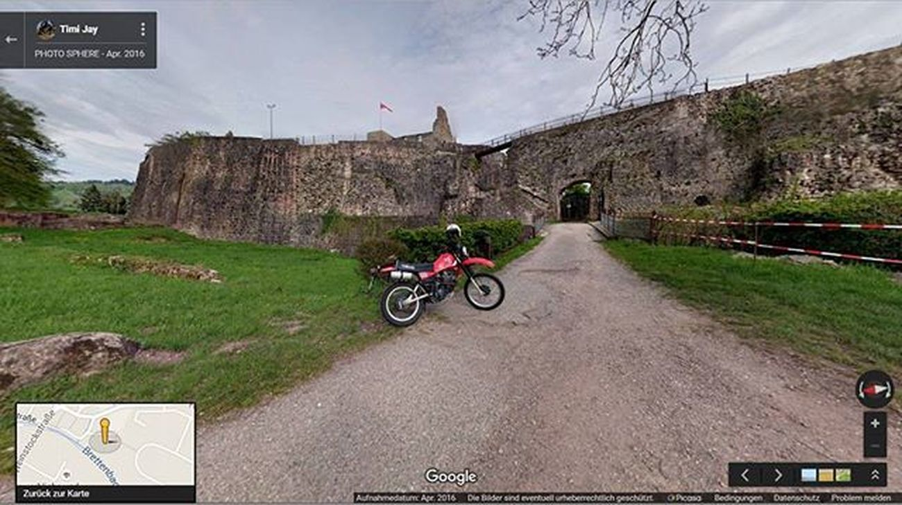 Yesterday s Friday After Work Ride to the Hochburg Castle Ruin Emmendingen with my Charger Horse Yamaha Xt550 1983 . Now the Weekend is Rainy Again :( Photsphere 360view Google Maps Bike Motorcycle