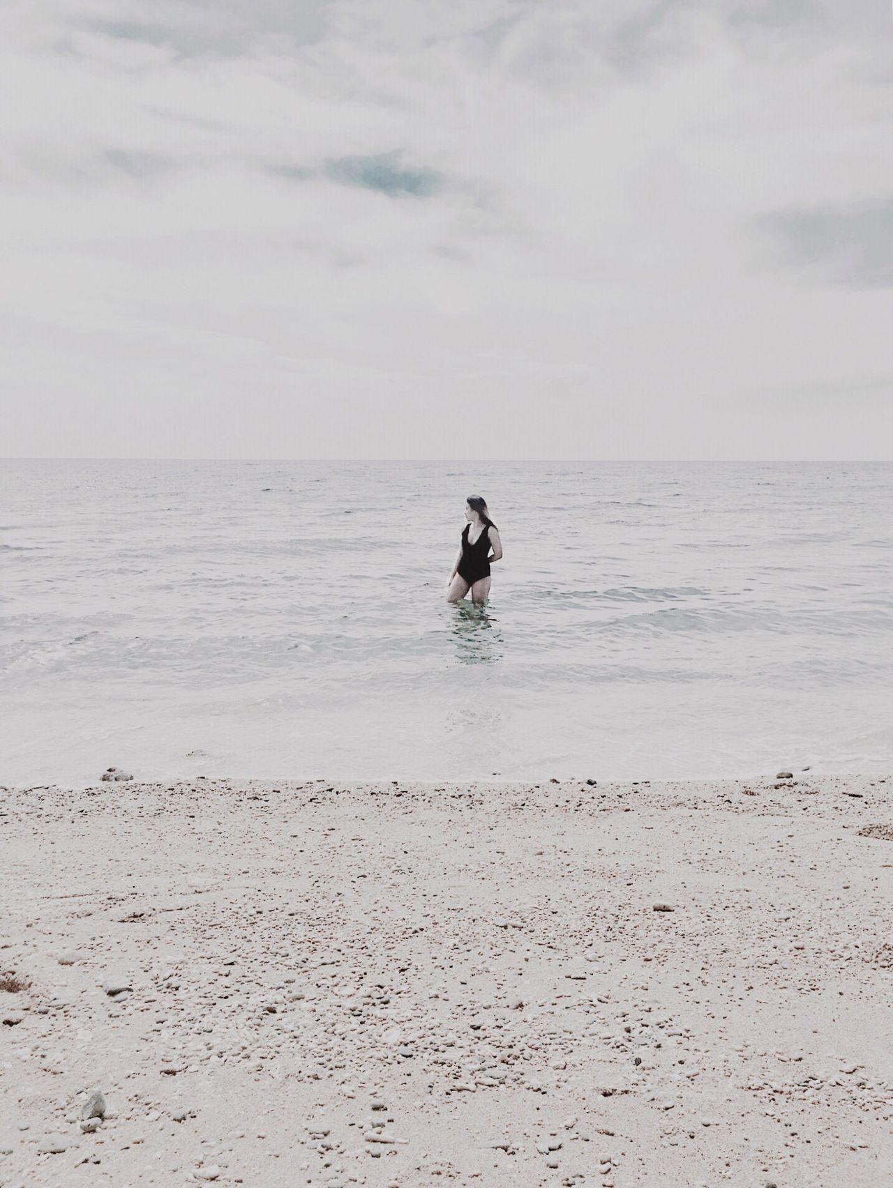 Sea Water Beach Horizon Over Water Nature Sand One Person Real People Minimal Eeyemph Eeyem Photography Eeyem EyeemPhilippines Eyeem Philippines EeYem Best Shots Minimalist Minimalism Simple Photography Tranquil Scene Tranquility Minimalobsession White Background