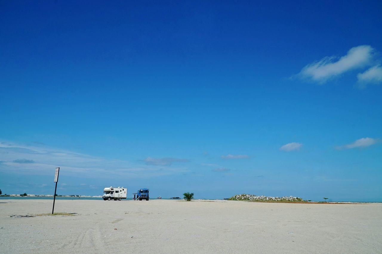 Traveling Pantai Klebang Beach Sand Trucks Clouds And Sky Blue Sky Travel Eye4photography  Taking Photos