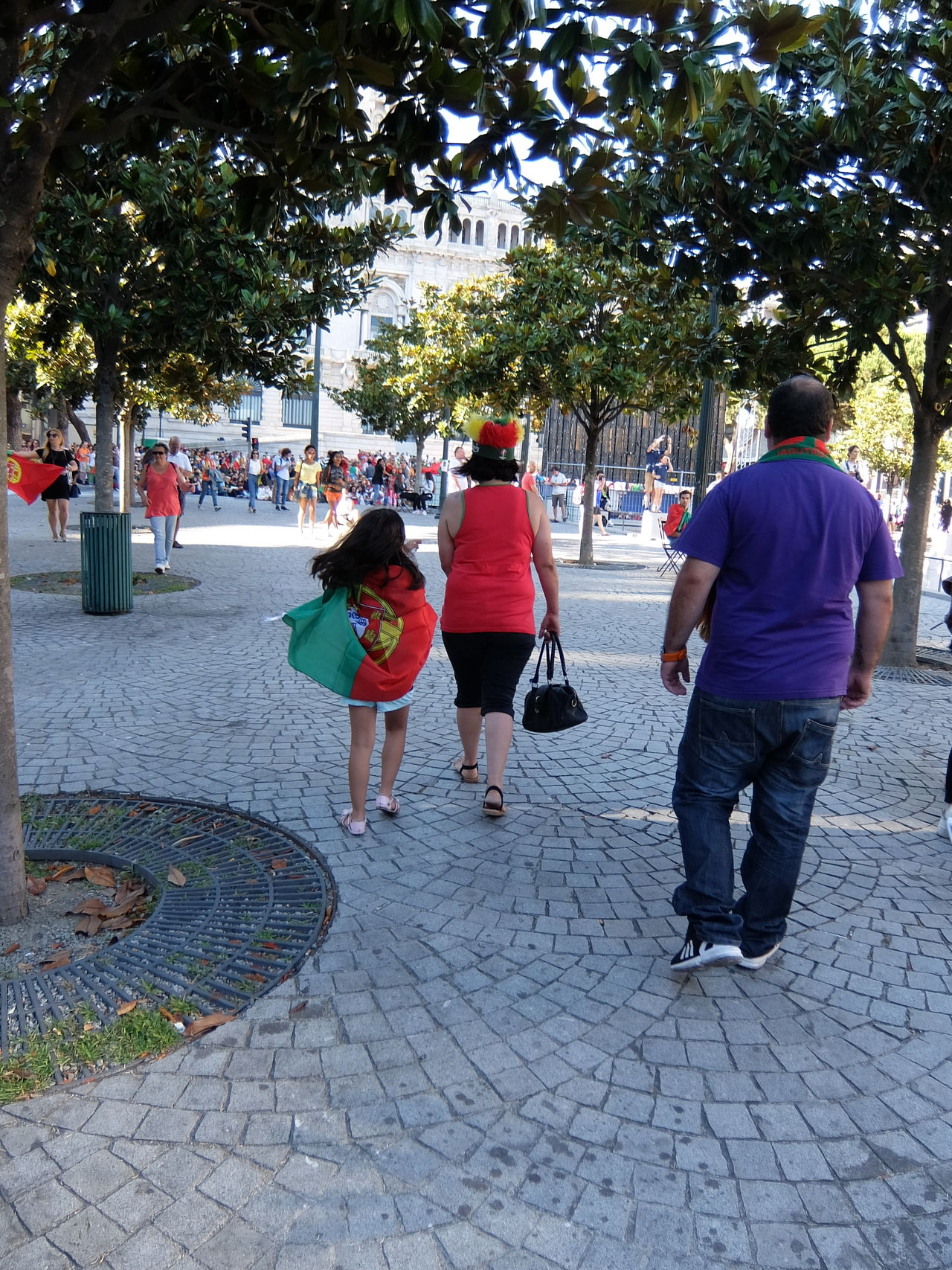 City Life Clothing Euro 2016 Flag Green & Red Leisure Activity Lifestyles Outdoors Porto Portugal The Way Forward Tree Walkway People Together