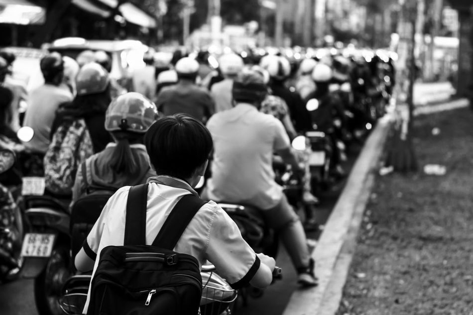 Beautiful stock photos of black & white, walking, real people, crowd, rear view