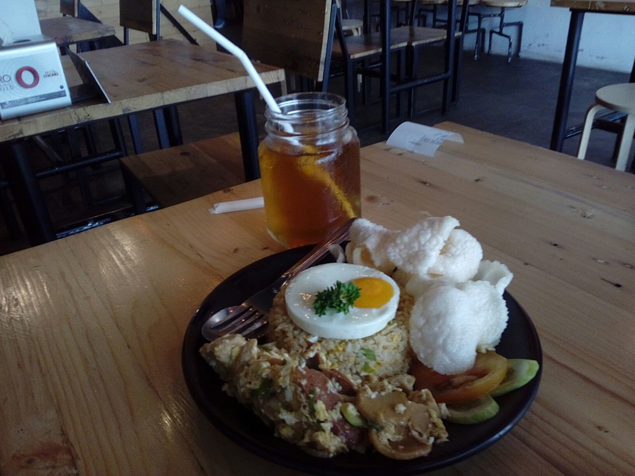 Food And Drink Table Freshness Food Egg Yolk Ready-to-eat Healthy Eating No People Drink Breakfast Indoors  Fried Egg Close-up Day Nasi Goreng Gila Fried Rice Sweet Tea Es Teh Manis