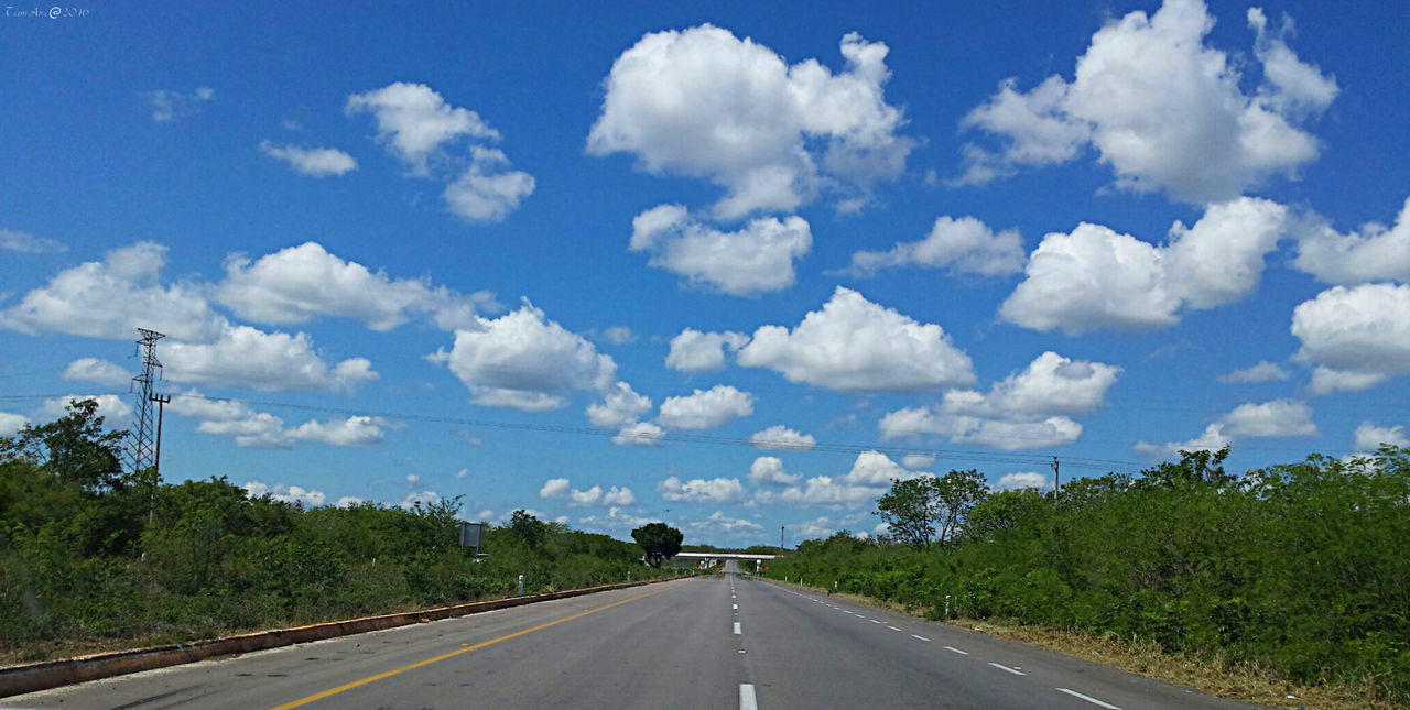 Blue Cloud - Sky Day Diminishing Perspective Long No People Non-urban Scene Outdoors Road Sky Tam_anc The Way Forward Tranquility Vanishing Point