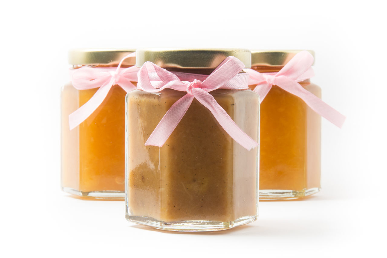 Generic Baby food in jars with ribbons, isolated on white background Baby Food Box - Container Business Close-up Generic Gift Glass Jars Isolated Isolated On White Isolated White Background Jars  No People Product White Background