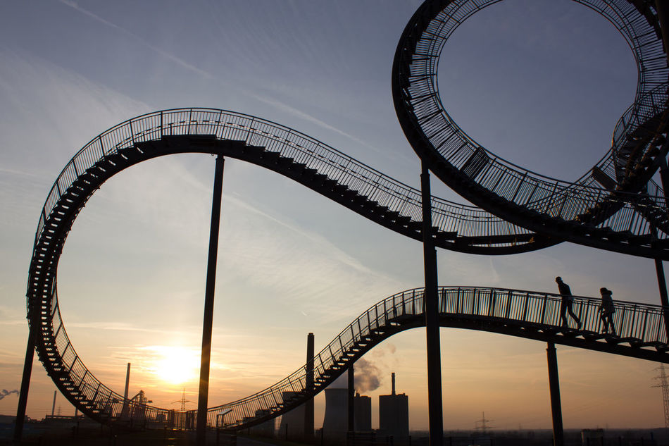 Angerpark Art Brigde Duisburg Germany Magic Mountain Most Extreme Staircases Sculpture Sky Structure Sunset Tiger And Turtle Tigerandturtle Tourist Attraction