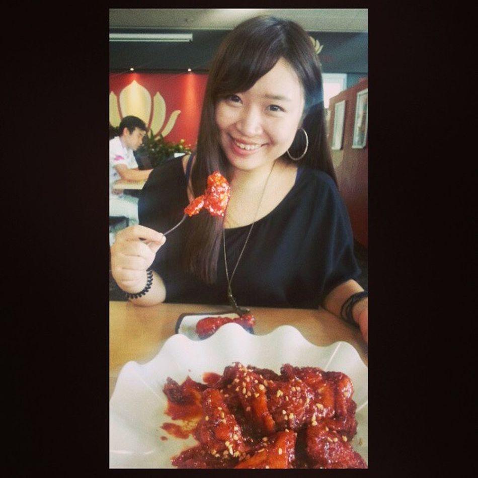 Mymy fried chicken♥♥♥Korean Food Friedchicken Instafood sweetchilli foodstagram instadaily instaplace ne myself photooftheday happiness instagramer