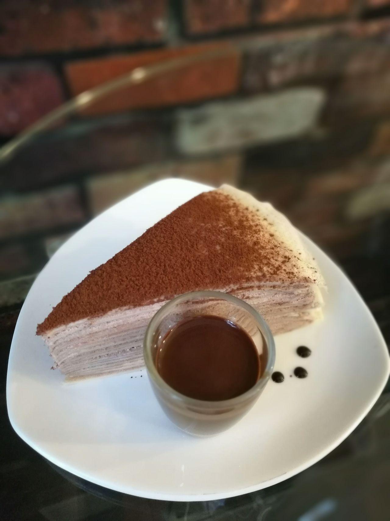 Crape Cake Chockolate Sauce Sweet Dessert Bakery