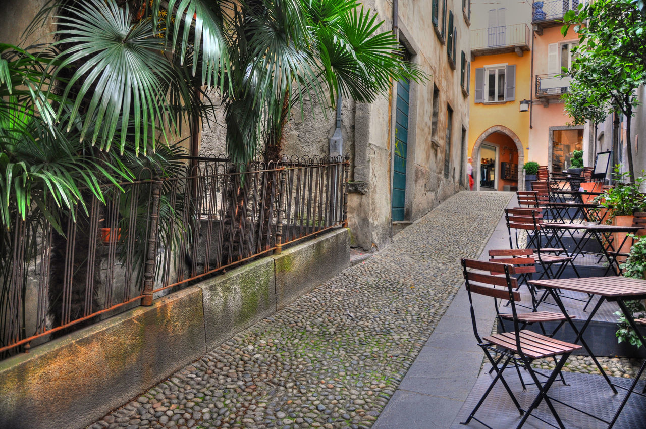 Alley with palm trees and tables in Locarno, Switzerland. Alley Architecture Building Exterior Chair City City Life Cobblestone Color Diminishing Perspective Facade Building Famous Place In A Row No People Old Town Outdoors Palm Tree Patio Railing Street Street Culture Table Travel Destinations Tree
