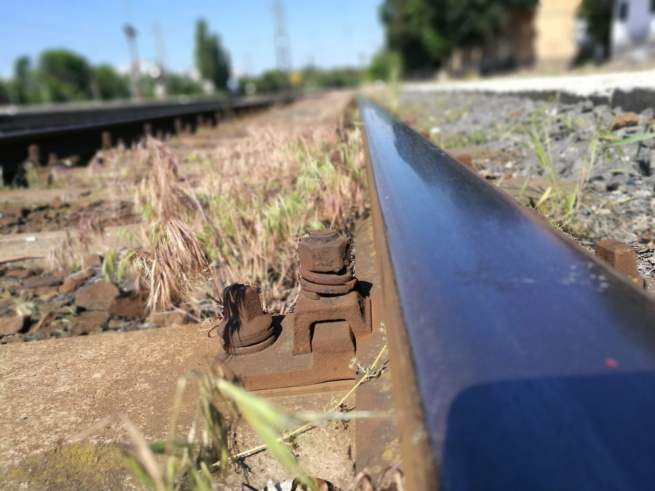 No People Day Outdoors Grass Nature Close-up Metallic Shiny Things Shiny Train Station Train Tracks Tracks LINE Rail Grass Focus On Foreground Summer Let's Go. Together.