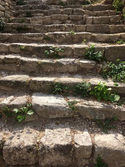 Step By Step Stone Material History Steps Day Outdoors No People Built Structure Backgrounds Full Frame Architecture Plant Nature Stairways To Heaven