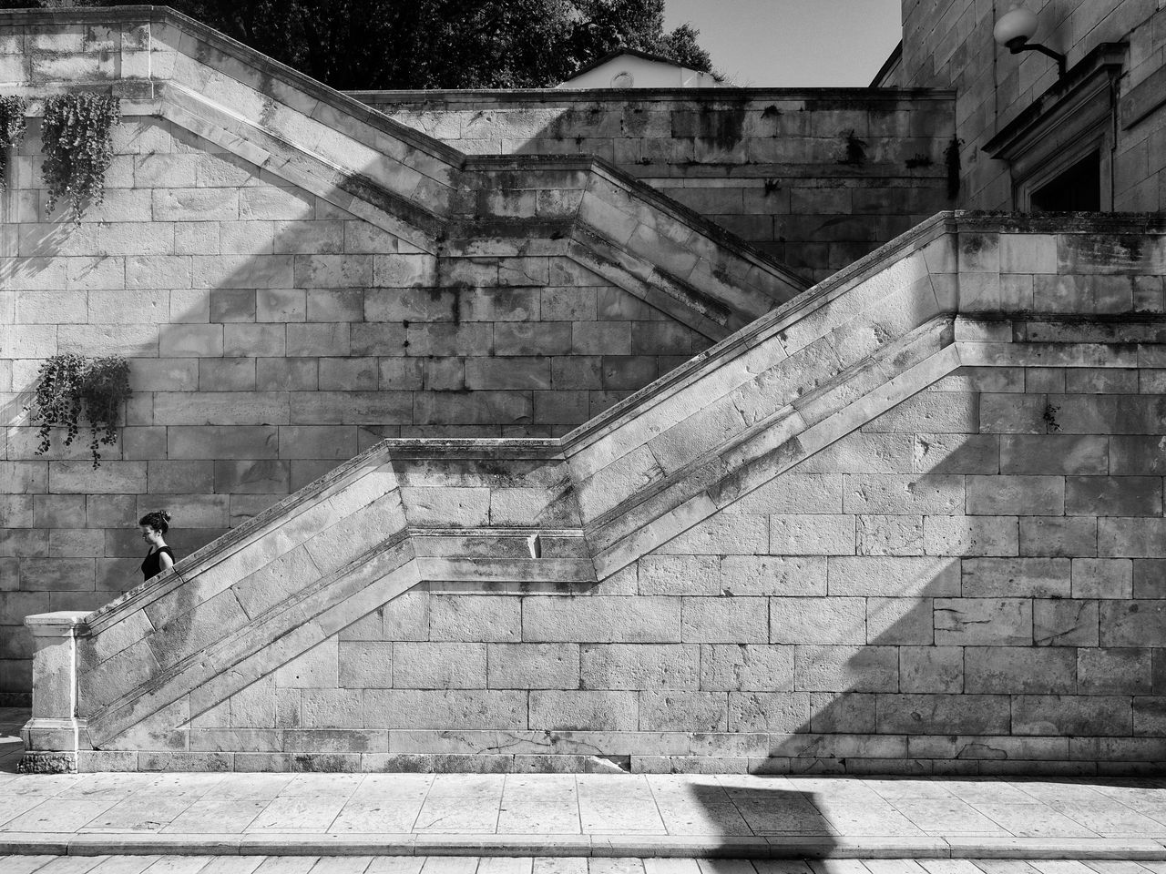 Alone Architecture City Beauty Day Diagonal Lines Old Walls One Person One Woman Only Staircase Stairs Steps Steps And Staircases Walls Woman