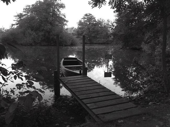 Blackandwhite Lake Boot Water Germany Ostfriesland Leer (Ostfriesland) Hometown
