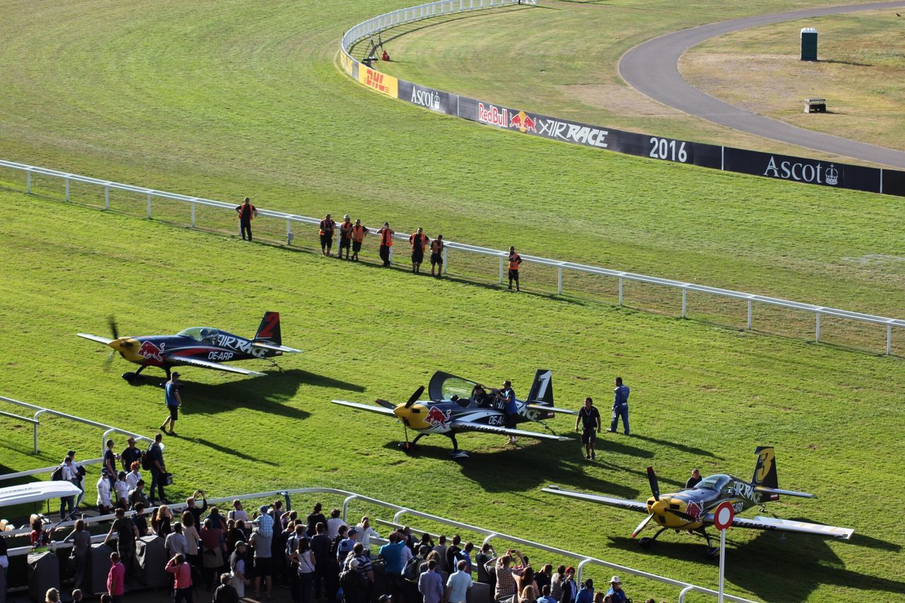 First, Second and Third of the Red Bull Air Race at Ascot, UK 2016 Large Group Of People Men High Angle View Person Walking Travel Leisure Activity Lifestyles Transportation Sport Competitive Sport Teamwork Grassland Event Performance Green Color Ascot Racecourse Ascot Spectators Spectator Spectacular Crowds Watching Redbullairrace2016 Redbullairrace