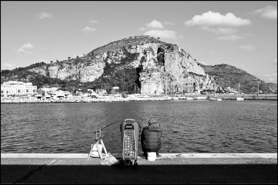 .home. | Sky Day Tranquility Tranquil Scene Monochrome Photography EyeEm Bnw Bw_collection Bws_worldwide Blackandwhite Bestsellers EyeEm Best Edits Great Atmosphere Hello World Street Photography Streetphotography Italy Street EyeEm City One Man Only Nautical Vessel Sea Streetphoto Terracina Real People