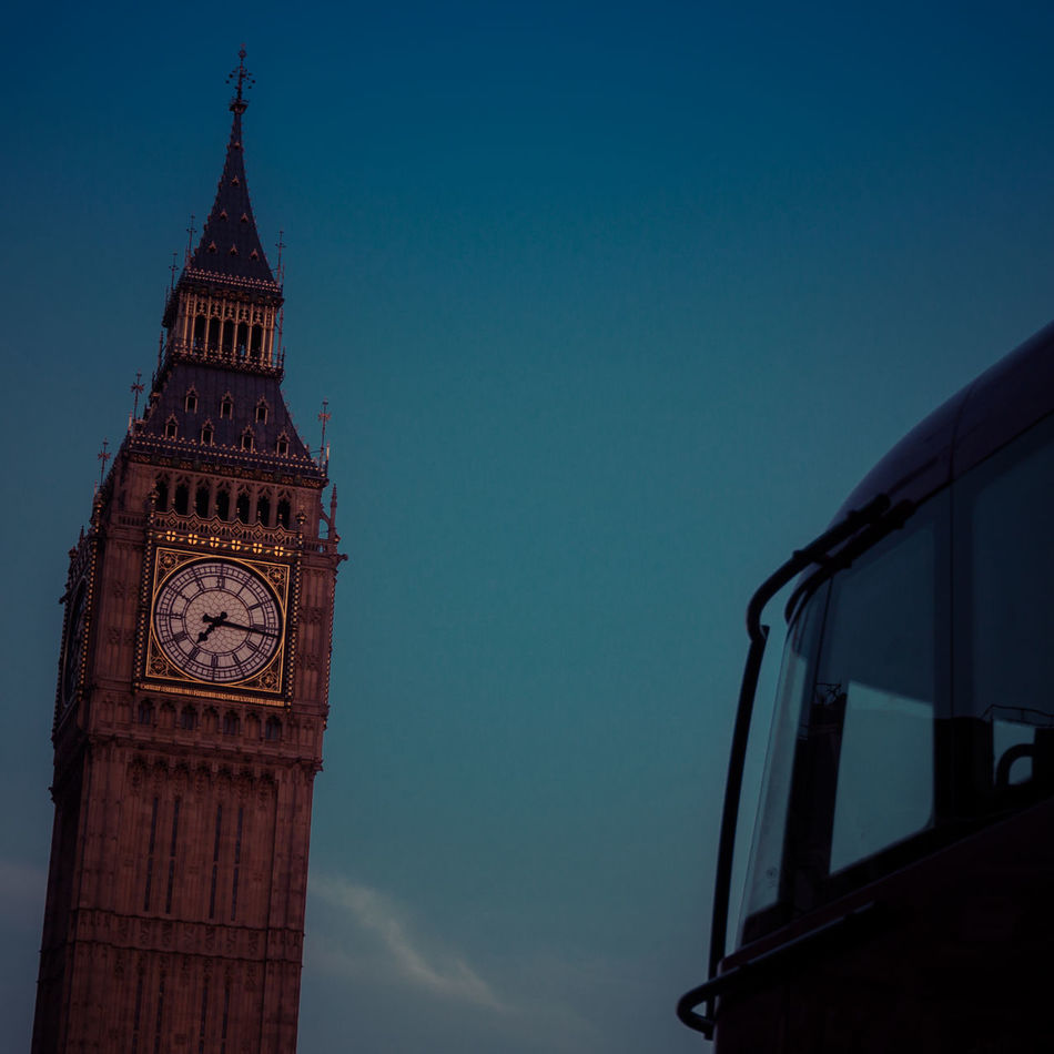 Architecture Big Ben Building Exterior Built Structure City Clear Sky Clock Clock Face Clock Tower Cultures Day Elizabeth Tower London Bus No People Outdoors Time Tower Travel Destinations