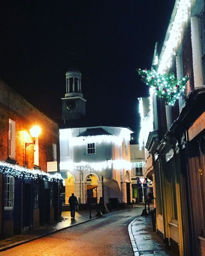 Church Street in Godalming, Surrey Illuminated Night Building Exterior Architecture Lighting Equipment Built Structure City Outdoors Real People Sky IPhone 7 Plus Godalming England Europe Surrey Dusk Landscape Church Street Pepperpot Christmas Lights Christmas Time Christmaslights