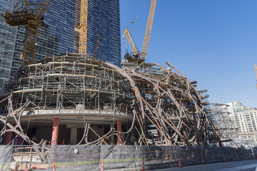 Amazon World Headquarters spheres under construction in downtown Seattle circa 2015 Campus Cranes Modern Office Seattle Skeleton Workers Amazon Architecture Building Exterior Built Structure Day Daylight Design Employees Futureistic No People Outdoors Safety Spheres Terrarium Towers World Headquarters