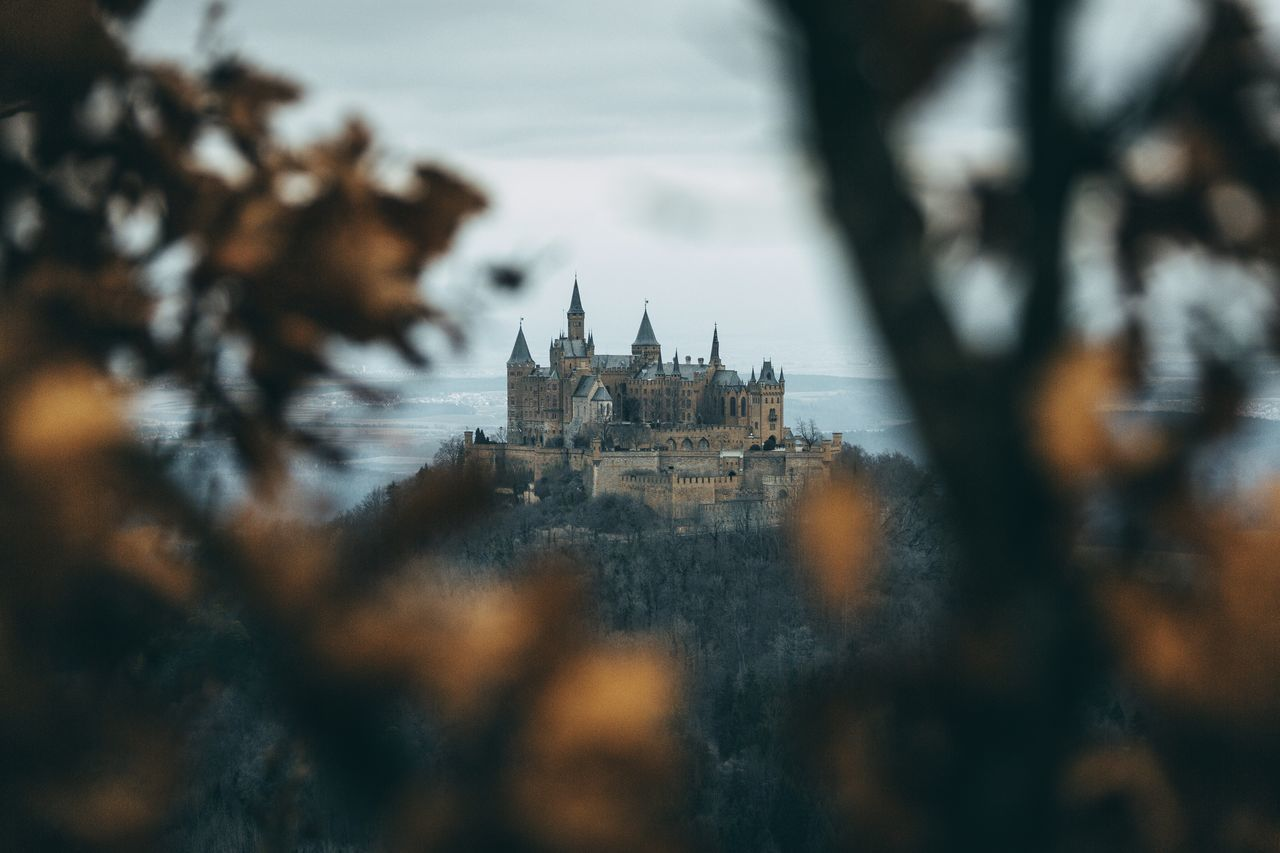 Castle on the Hill. Architecture Built Structure Building Exterior Place Of Worship History Religion Spirituality Outdoors Travel Destinations Day Tree No People Sky Nature Germany Hohenzollern