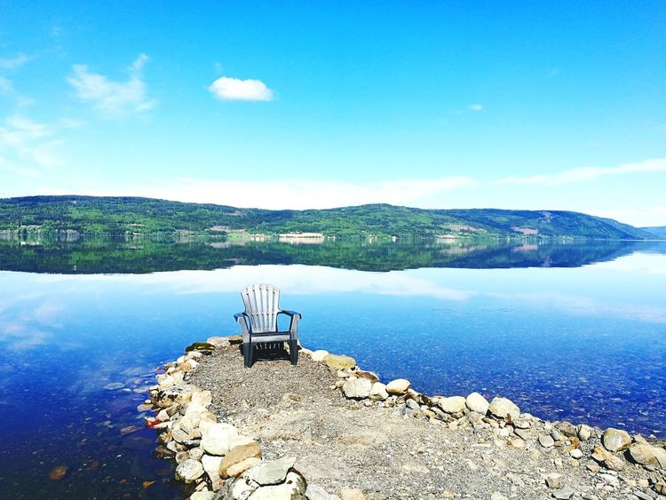 Breathing Space Peaceful Place Tranquil Scene Calm And Serene Lake Sky Water Reflection Tranquility Blue Beauty In Nature Scenics No People Lifestyles Chair Day Nature Outdoors Selected For Premium Lost In The Landscape Perspectives On Nature Eye4photography  Scandinavian Norway Love Yourself