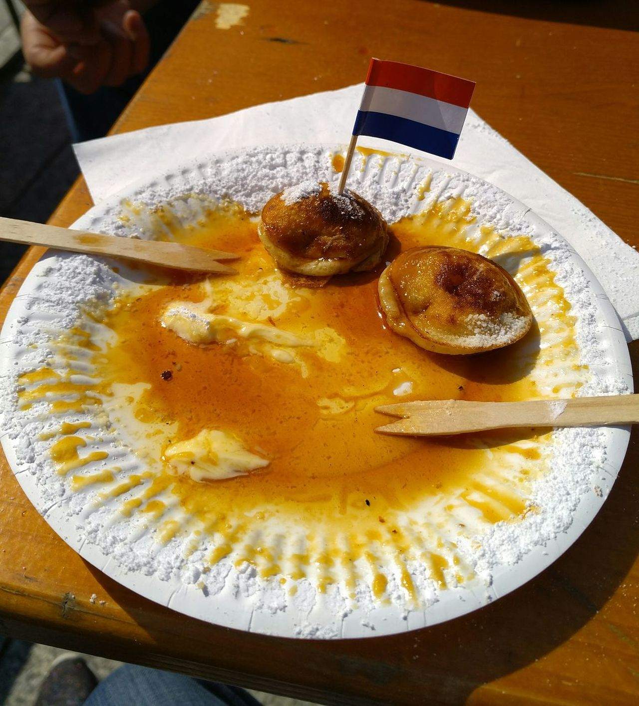 Dutch Food Poffertjes Food And Drink Nottingham Market Uk Ready-to-eat Plate Table Im In Heaven Right Now!  Taking Photos